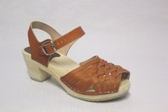 Swedish Clog  Wooden Sandals Clog Open Toe Leather Natural Thom Brown Size 39 #SwedishHasbeens #AnkleStrap #Casual