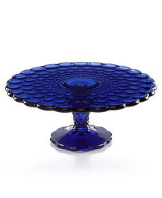 Martha Stewart Collection Cobalt Optic Glass Cake Stand - Serveware - Dining & Entertaining - Macy's