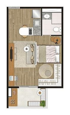 House Plans: Inspirations for You to Accomplish Your Project - - Layouts Casa, House Layouts, Studio Floor Plans, House Floor Plans, Apartment Layout, Apartment Plans, Tiny Apartments, Tiny Spaces, 3d Home