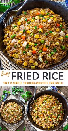 This Easy Fried Ricetakes only 15 minutes to make and is exploding with savory flavors and bursting with tender veggies! Our classic Chinese egg fried rice recipe is both healthier + yummier to curb that Chinese Restaurant takeout craving. Includes a few secret ingredients + tips. Makes a quick and easy meal or side dish that everyone adores! Works great for meal prep, freezer -friendly and includes gluten-free, grain-free, paleo and low carb keto options. Bhg Recipes, Rice Recipes, Chinese Egg Fried Rice, One Pot Dinners, Breakfast Snacks, Low Carb Keto, Us Foods, Grain Free, Meal Prep