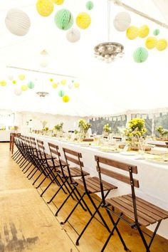 Yellow and mint wedding reception inspiration.