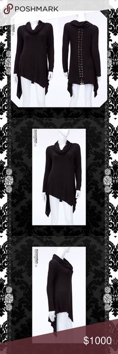 ⭐️⭐️COMING IN 2-3 DAYS RESERVE YOURS TODAY⭐️⭐️ New Black Asymmetrical Long Sleeve Turtleneck Lace Up Back Color: Black Material: 96% Rayon 4% Spandex Made in USA Sizes Avail: Small, Medium, Large Fits true to size in oversized relaxed fit Very nice Lace Up detail on back   💠💠PRICE FIRM UNLESS BUNDLED💠💠 ⭐️⭐️SORRY NO TRADES AND LOWBALL OFFERS WILL BE IGNORED ⭐️⭐️ 🌺🌺ADDITIONAL MEASUREMENTS AVAIL UPON REQUEST 🌺🌺 Glam Squad 2 You Tops Tunics