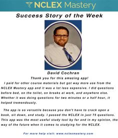 David Cochran is our #NCLEX Mastery Success Story of the Week. Congratulations on passing your NCLEX, and becoming a #nurse. We're glad we could help play a part in you achieving your dreams! If you want to know how David passed or if you need help on your NCLEX studies visit: www.nclexmastery.com.