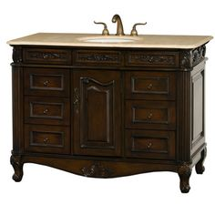 Colonia 48 inch Dark Cherry Antique Bathroom Vanity with Drawers