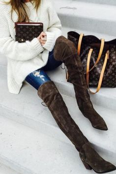 Suede Solid Color Chunky Heel Thigh Boots
