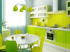 Cheerful Summer Interiors: 50 Green and Yellow Kitchen Designs