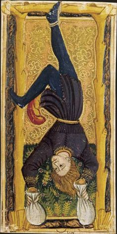 The Hanged Man Tarot card from the so-called charles vi tarot, in fact northern italian, late . Case in point historical Tarot. Hanged Man Tarot, The Hanged Man, Le Tarot, Art Carte, Spiritus, Major Arcana, Oracle Cards, Medieval Art, Tarot Decks
