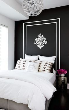 "such a simple idea--use a graphic (could be any color combination) and ""make"" a headboard, with just paint."