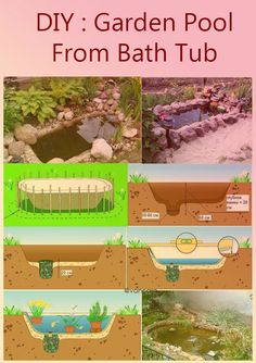 DIY Garden Pool from Bathtub #gardening #upcycling