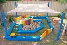 Build a Tiny Yet Colorful Pallet Patio for a Kid. Backyard play area idea with free pallets. Toy kitchen and toddler chair.LOVE this idea for the empty space under the girls treehouse on their playset Pallet Projects: Build a Tiny Yet Colorful Pallet Pati Kids Outdoor Play, Kids Play Area, Backyard For Kids, Outdoor Fun, Diy For Kids, Backyard House, Backyard Ideas, House Yard, Backyard Canopy