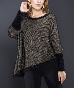 Take a look at this Black & Gold Dolman Sweater on zulily today!