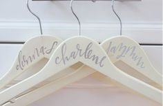 CALLIGRAPHY HANGERS. A beautiful keepsake for you and your bridal party!  WWW.THEPAISLEYBOX.COM
