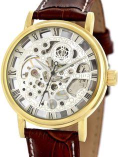 Alienwork Handaufzug mechanische Armbanduhr Skelett Uhr graviert Leder silber braun AH006-03 - http://uhr.haus/alienwork/alienwork-handaufzug-mechanische-armbanduhr-03