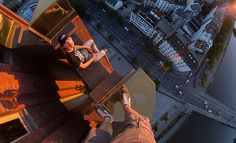 Credit: Vadim Makhorov/Caters News Agency Vitaliy Raskalov skywalking above Frankfurt, Germany