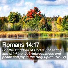 Romans 14:17 For the kingdom of God is not eating and drinking, but…