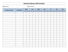 Free Monthly Work Schedule Template | Weekly Employee 8 Hour Shift ...