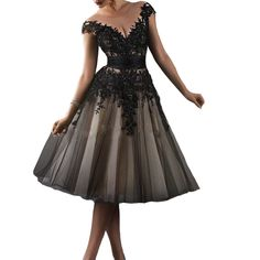Kivary Women's Vintage Champagne and Black Short Knee Length Sheer Illusion Cap Sleeves Lace Prom Dresses US 20W. Fabric is tulle, Back is lace up not zipeper. See through scoop neckline, Short A line knee length skirt, Champagne and Black lace appliques, Beads sequins. This is a custom made dress even if standard size. Please find a soft tape to measure yourself and check size chart, keep tape loose, otherwise will be too tight or large for you. For custom made size, please message and...