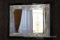 Интерьер. Витражное зеркало Узор из листьев № 794