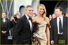 Stacy Keibler in #lorraineschwartz jewels, with George Clooney...her best accessory #oscars #oscarjewelry