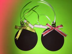 Set Of 2 Chalkboard Christmas Ornaments Double Sided