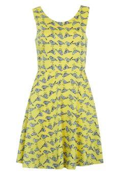 Vestido FiveBlu Birds Amarelo