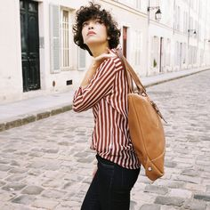 Bleu de Chauffe | Women I Leather tote bag. Cabas cuir Garance I Made in France