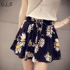 2018 summer printed short skirts women Chiffon shorts women Wide leg Sunflower Casual fashion feminino shorts skirt. Yesterday's price: US $4.96 (4.22 EUR). Today's price: US $4.96 (4.22 EUR). Discount: 58%.