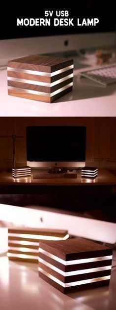 Moderne LED-Schreibtischlampe… Powered by USB – Holzprojekte wood projects - wood working Woodworking Projects Diy, Teds Woodworking, Wood Projects, Woodworking Organization, Woodworking Furniture, Woodworking Classes, Popular Woodworking, Woodworking Beginner, Woodworking Chisels
