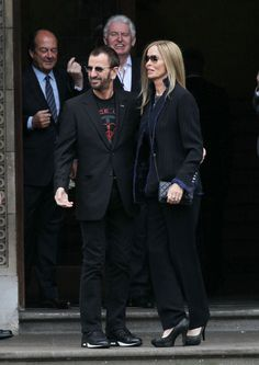 Ringo Starr and wife Barbara Bach leave the Marylebone registry office after the wedding of Paul McCartney to Nancy Shevell (2)