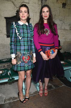 Charlotte Casiraghi and Tatiana Santo Domingo Casiraghi attended the Gucci Cruise 2017 fashion show at the Cloisters of Westminster Abbey on June 2, 2016 in London