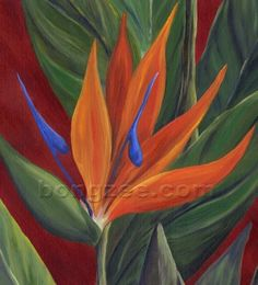 BIRD OF PARADISE Large Original Oil Painting 36x12 by lisabongzee