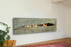 not sure of the practicality but love the look - Patinaed Metal Fireplace by CF + D Metal Fireplace, Freestanding Fireplace, Custom Fireplace, Fireplace Design, Modern Fireplace, Mounted Fireplace, Fireplace Tiles, Gas Fireplaces, Outdoor Fireplaces