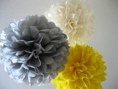 grey, creme, yellow poms
