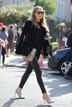 Olivia Palermo #style #fashion #streetstyle #look #chique #trending #wear #female #dress #skirt #jacket #leather #chic #stripes #jeans #shoes #heels