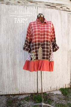 Flannel Shirt Tunic Boho Clothing Upcycled Womens A