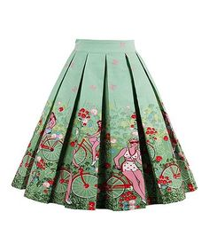 Green Bicycle Pleated A-Line Skirt #zulily #zulilyfinds