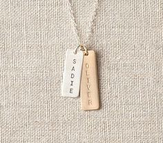 Silver/Gold Long Tag Necklace