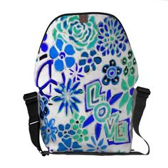 Hippy Art Peace Love Flower Child Grunge Art Bag