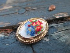 Vintage Viennese Oval & Petit Point Embroidery Needlepoint Flower Pin Brooch by MemoriesofMargaret on Etsy