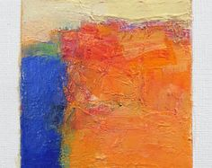 June 26, 2017 - Original Abstract Oil Painting - 9x9 painting (9 x 9 cm - app. 4 x 4 inch) with 8 x 10 inch mat