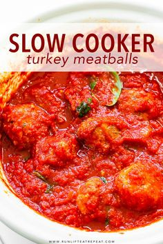 These slow cooker turkey meatballs are homemade, satisfying, and hardly any work. They're packed with flavor, incredibly tender, and keep perfectly for lunches during the week! Pair them with a salad, on top of spaghetti, stuffed inside a roll topped with provolone cheese, or with a side of garlic bread. No matter the way, these are my favorite! #recipes #slowcooker #healthyrecipes