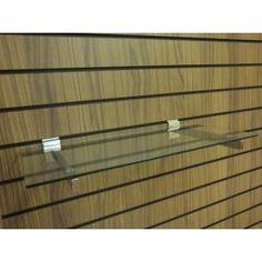 #Glass #Slatwall -Glass display shelf with slatwall chrome brackets. This glass shelf is 6mm thick toughened glass. Perfect to slot into your slatwall panel, slatwall center units and slatwall tower displays.