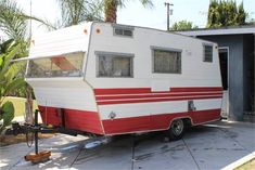 """Floor plan length – 12'2"""" Overall length – 17'2"""" Exterior – original windows, new exterior lights, original bumper, newish tires w/ spare, new bearings, new l... Camper Trailer For Sale, Vintage Campers Trailers, Camper Trailers, Exterior Lighting, Recreational Vehicles, Floor Plans, Camping, Windows, Lights"""