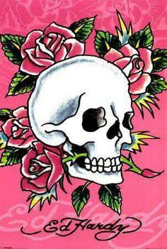 77d3e352c3 Ed hardy skull pink roses Christian Audigier