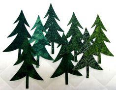 TREES appliques diecut Twelve Evergreens diy forest | Etsy Evergreen Trees, Christmas Applique, Machine Applique, King Size Quilt, Die Cut, Blanket Stitch, Straight Stitch, Satin Stitch, Rustic Theme