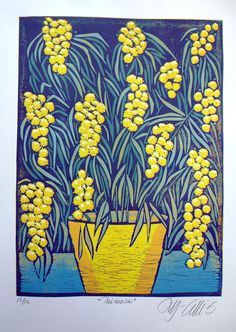 linocut, Mimosa, spring flower, blue, yellow, bright colors, home interior, printmaking, flowers, botanical, turquoise, art print,