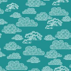 Organic Changing Pad Cover, Organic Baby Bedding, 100% Certified Organic Crib Sheet, Teal Clouds by PandaHugStore on Etsy