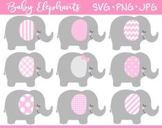 Baby Elephant SVG & Clipart Set pink elephant baby shower   Etsy Baby Elephant Images, Elephant Baby Showers, Elephant Nursery, Pink Elephant, Elephant Template, Elephant Pattern, Grey Baby Shower, Girl Shower, Pink And Gray Nursery