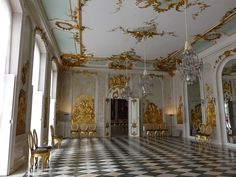 Neue Kammern, Sanssouci, Sanssouci Park, Potsdam, Brandenburg, Germany | The New Chambers in Sanssouci Park, Potsdam, were constructed for King Frederick the Great of Prussia from 1771 to 1775. The building, which stands to the west of Sanssouci Palace, serves as a complement to the Picture Gallery, which lies to the east. Both buildings flank the summer palace.  The chambers replaced an orangery, which had been built at that site in 1745 on plans by Georg Wenzeslaus v