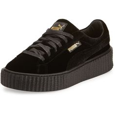 Fenty Puma By Rihanna Velvet Low-Top Creeper ($150) ❤ liked on Polyvore featuring shoes, sneakers, black, velvet platform shoes, platform sneakers, black low top sneakers, black platform sneakers and platform shoes